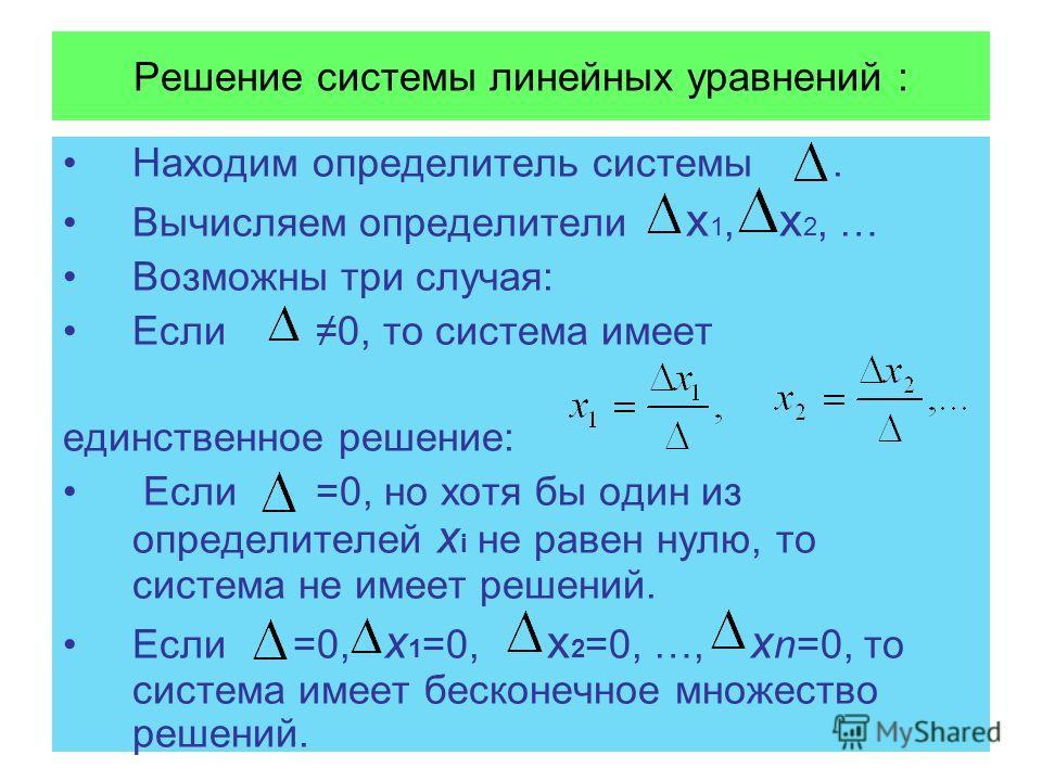 Решение системы линейных уравнений : Находим определитель системы. Вычисляем определители х 1, x 2, … Возможны три случая: Если 0, то система имеет единственное решение: Если =0, но хотя бы один из определителей х i не равен нулю, то система не имеет