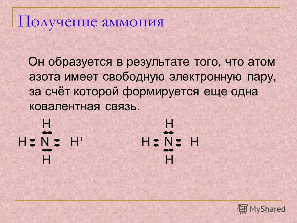 Получение аммония Он образуется в результате того, что атом азота имеет свободную электронную пару, за счёт которой формируется еще одна ковалентная связь. H H H N : H + H N H H H