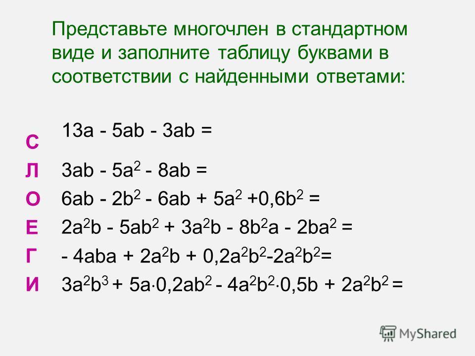 Представьте многочлен в стандартном виде и заполните таблицу буквами в соответствии с найденными ответами: С 13a - 5ab - 3ab = Л 3ab - 5a 2 - 8ab = О 6ab - 2b 2 - 6ab + 5a 2 +0,6b 2 = Е 2a 2 b - 5ab 2 + 3a 2 b - 8b 2 a - 2ba 2 = Г- 4aba + 2a 2 b + 0,
