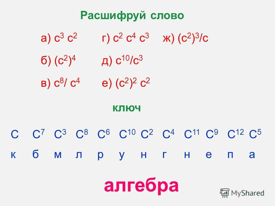 а) с 3 с 2 г) с 2 с 4 с 3 ж) (с 2 ) 3 /с б) (с 2 ) 4 д) с 10 /с 3 в) с 8 / с 4 е) (с 2 ) 2 с 2 Расшифруй слово СС7С7 С3С3 С8С8 С6С6 С 10 С2С2 С4С4 С 11 С9С9 С 12 С5С5 кбмлрунгнепа ключ алгебра