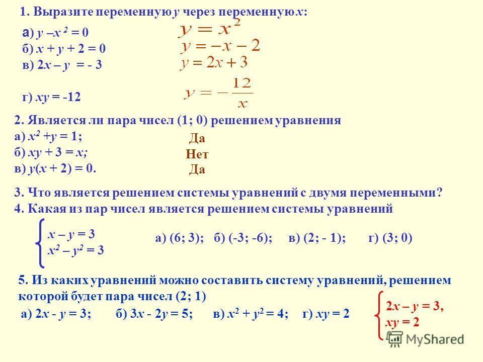1. Выразите переменную у через переменную х: а ) у –х 2 = 0 б) х + у + 2 = 0 в) 2х – у = - 3 г) ху = -12 2. Является ли пара чисел (1; 0) решением уравнения а) х 2 +у = 1; б) ху + 3 = х; в) у(х + 2) = 0. 3. Что является решением системы уравнений с д