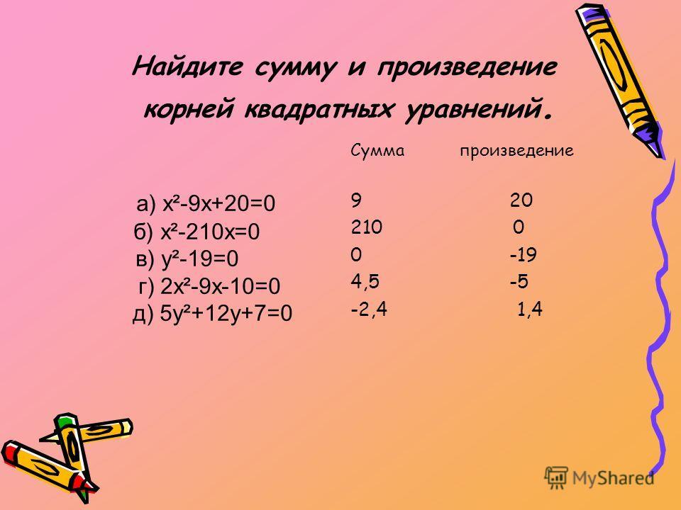 Найдите сумму и произведение корней квадратных уравнений. Сумма произведение 9 20 210 0 0 -19 4,5 -5 -2,4 1,4 а) х²-9х+20=0 б) х²-210х=0 в) у²-19=0 г) 2х²-9х-10=0 д) 5у²+12у+7=0