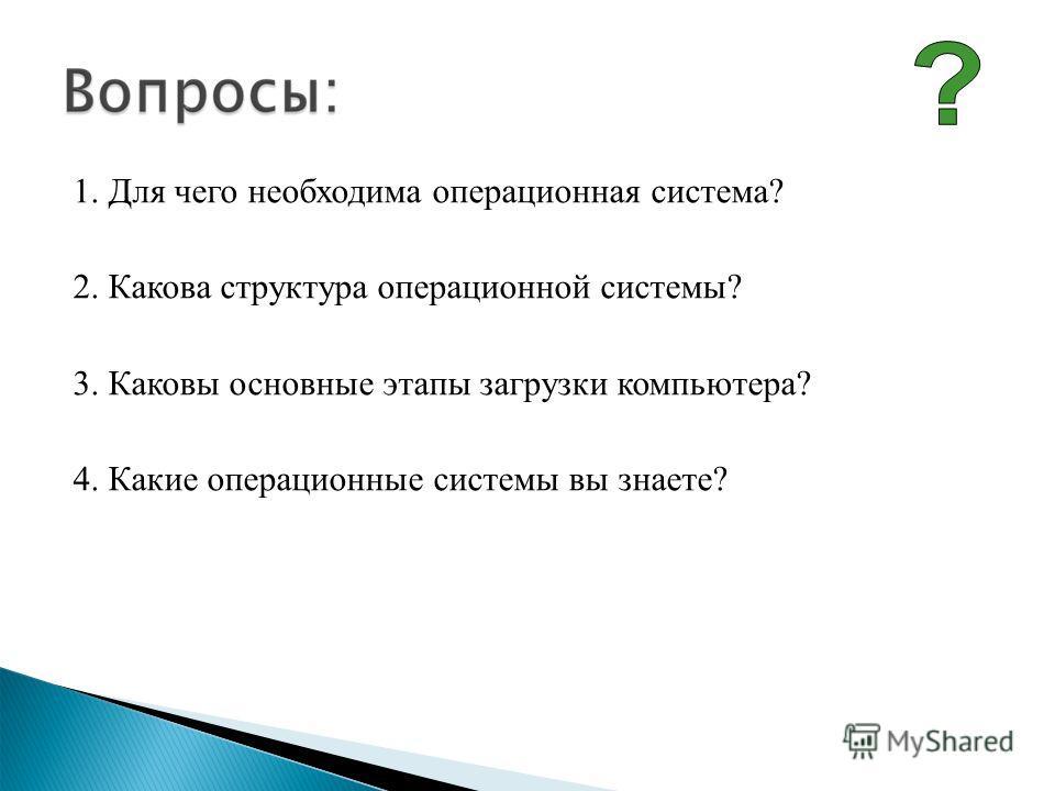 1. Для чего необходима операционная система? 2. Какова структура операционной системы? 3. Каковы основные этапы загрузки компьютера? 4. Какие операционные системы вы знаете?