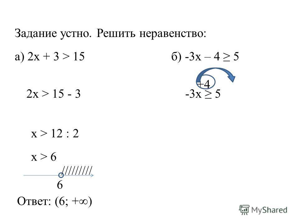 Задание устно. Решить неравенство: а) 2x + 3 > 15б) -3x – 4 5 2x > 15 - 3 x > 12 : 2 x > 6 6 ///////// Ответ: (6; +) -3x 5 +4