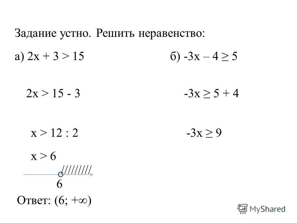 Задание устно. Решить неравенство: а) 2x + 3 > 15б) -3x – 4 5 2x > 15 - 3 x > 12 : 2 x > 6 6 ///////// Ответ: (6; +) -3x 5 + 4 -3x 9