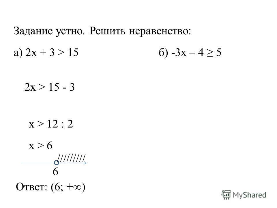 Задание устно. Решить неравенство: а) 2x + 3 > 15 б) -3x – 4 5 2x > 15 - 3 x > 12 : 2 x > 6 6 ///////// Ответ: (6; +)