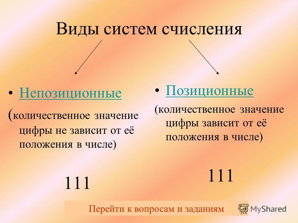 Виды систем счисления Непозиционные ( количественное значение цифры не зависит от её положения в числе) 111 Позиционные (количественное значение цифры зависит от её положения в числе) 111 Перейти к вопросам и заданиям