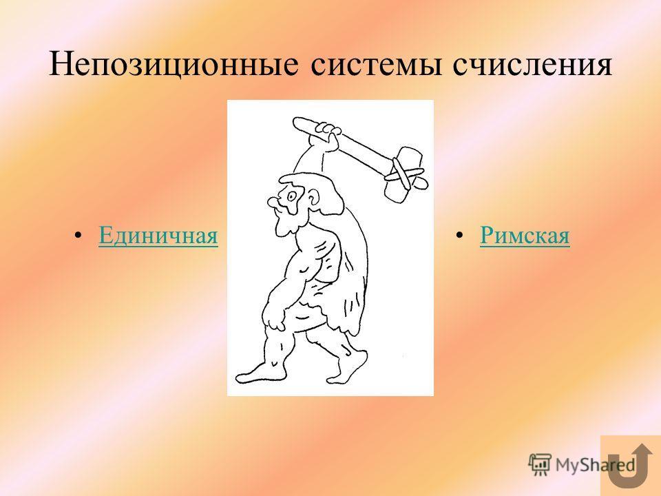 Непозиционные системы счисления Единичная Римская