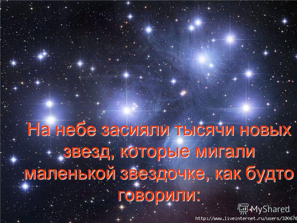 На небе засияли тысячи новых звезд, которые мигали маленькой звездочке, как будто говорили: