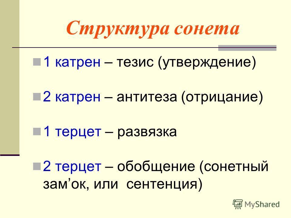 Структура сонета 1 катрен – тезис (утверждение) 2 катрен – антитеза (отрицание) 1 терцет – развязка 2 терцет – обобщение (сонетный замок, или сентенция)