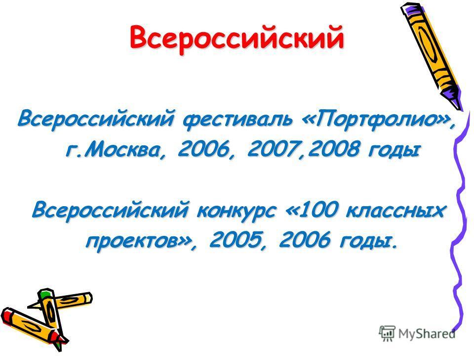 Всероссийский Всероссийский фестиваль «Портфолио», г.Москва, 2006, 2007,2008 годы г.Москва, 2006, 2007,2008 годы Всероссийский конкурс «100 классных проектов», 2005, 2006 годы. проектов», 2005, 2006 годы.
