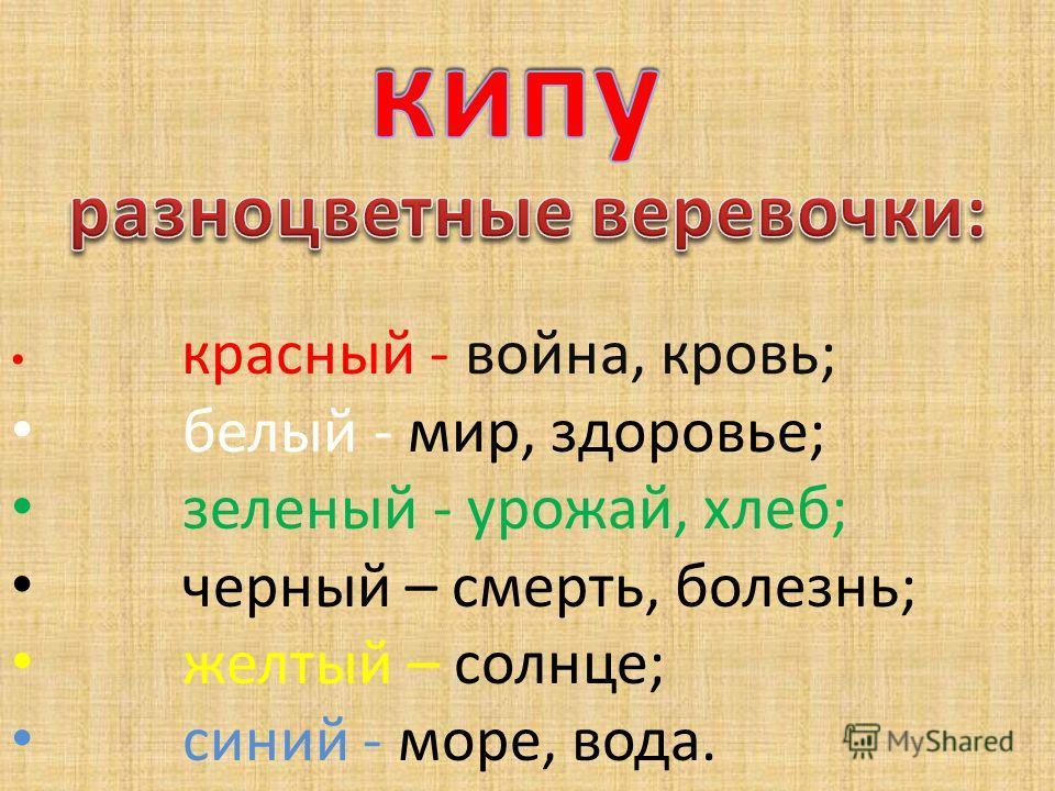 красный - война, кровь; белый - мир, здоровье; зеленый - урожай, хлеб; черный – смерть, болезнь; желтый – солнце; синий - море, вода.