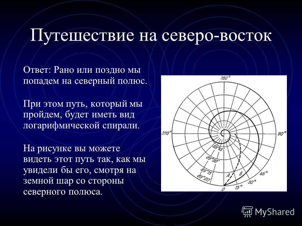 Путешествие на северо-восток Ответ: Рано или поздно мы попадем на северный полюс. При этом путь, который мы пройдем, будет иметь вид логарифмической спирали. На рисунке вы можете видеть этот путь так, как мы увидели бы его, смотря на земной шар со ст