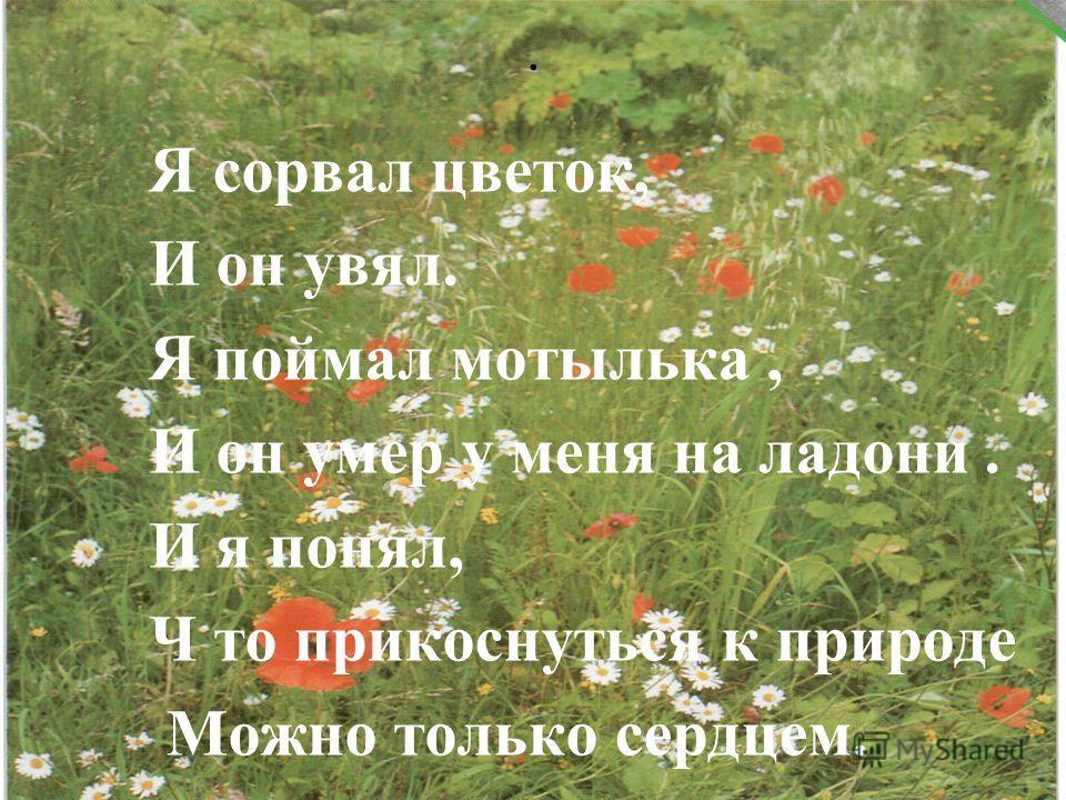 . Я сорвал цветок, И он увял. Я поймал мотылька, И он умер у меня на ладони. И я понял, Ч то прикоснуться к природе Можно только сердцем.