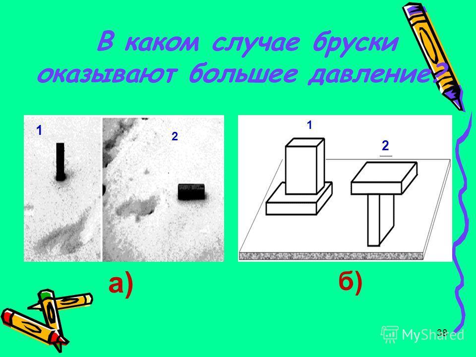 38 В каком случае бруски оказывают большее давление? а) 1 2 б) 1 2