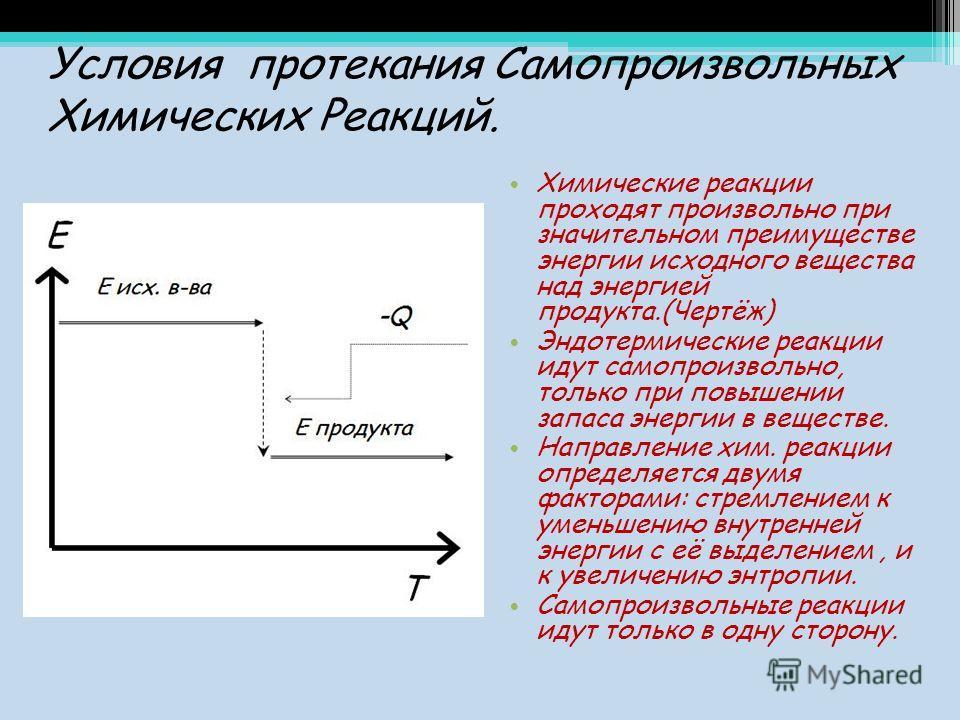 Условия протекания Самопроизвольных Химических Реакций. Химические реакции проходят произвольно при значительном преимуществе энергии исходного вещества над энергией продукта.(Чертёж) Эндотермические реакции идут самопроизвольно, только при повышении