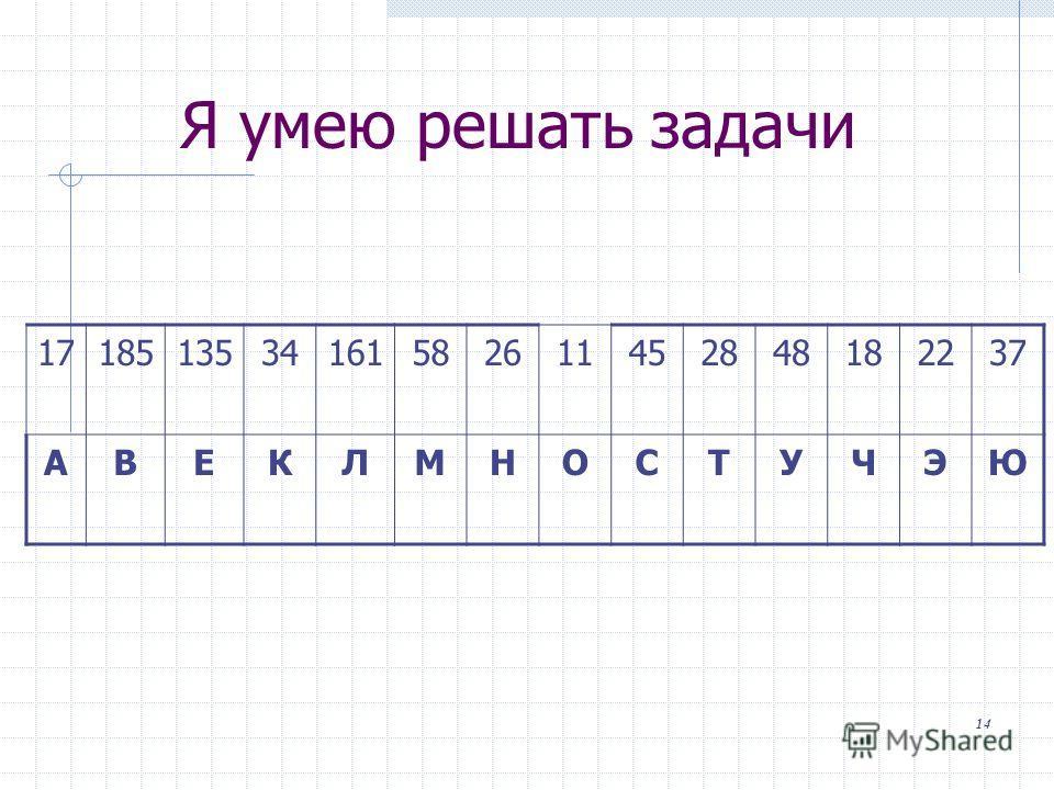 Я умею решать задачи 1718513534161582611452848182237 АВЕКЛМНОСТУЧЭЮ 14