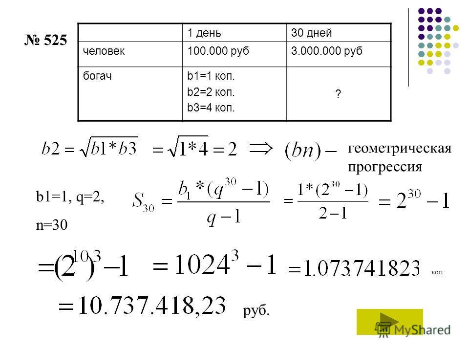 1 день30 дней человек100.000 руб3.000.000 руб богачb1=1 коп. b2=2 коп. b3=4 коп. ? геометрическая прогрессия b1=1, q=2, n=30 коп руб. 525