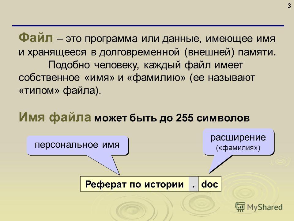 3 Файл – это программа или данные, имеющее имя и хранящееся в долговременной (внешней) памяти. Подобно человеку, каждый файл имеет собственное «имя» и «фамилию» (ее называют «типом» файла). Имя файла может быть до 255 символов Реферат по истории Рефе
