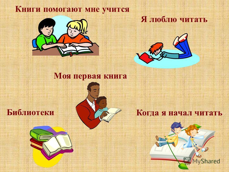 Книги помогают мне учится Я люблю читать Моя первая книга Когда я начал читать Библиотеки