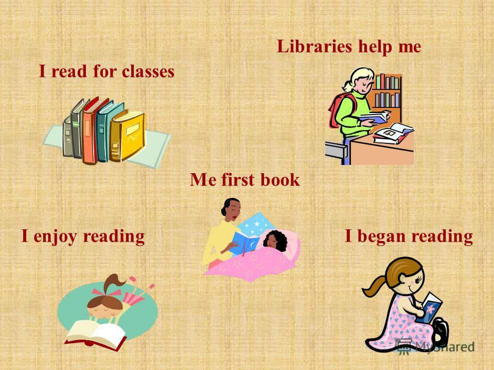 I read for classes Libraries help me Me first book I began readingI enjoy reading