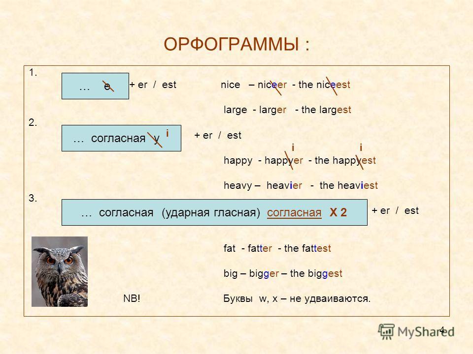 4 ОРФОГРАММЫ : 1. + er / est nice – niceer - the niceest large - larger - the largest 2. + er / est i happy - happyer - the happyest heavy – heavier - the heaviest 3. + er / est fat - fatter - the fattest big – bigger – the biggest NB! Буквы w, x – н