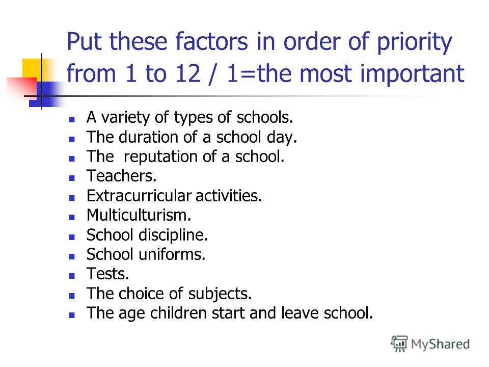 Put these factors in order of priority from 1 to 12 / 1=the most important A variety of types of schools. The duration of a school day. The reputation of a school. Teachers. Extracurricular activities. Multiculturism. School discipline. School unifor