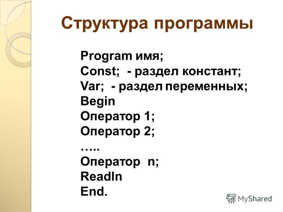 Структура программы Program имя; Const; - раздел констант; Var; - разделпеременных; Begin Оператор 1; Оператор 2; ….. Оператор n; Readln End.