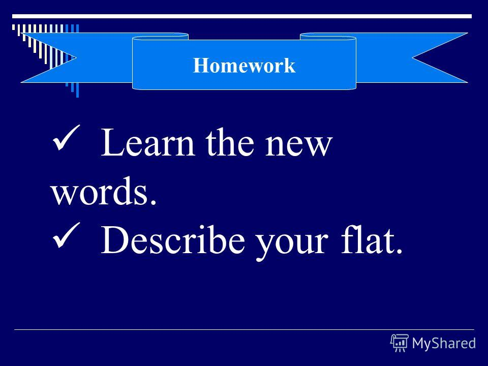 Learn the new words. Describe your flat. Homework