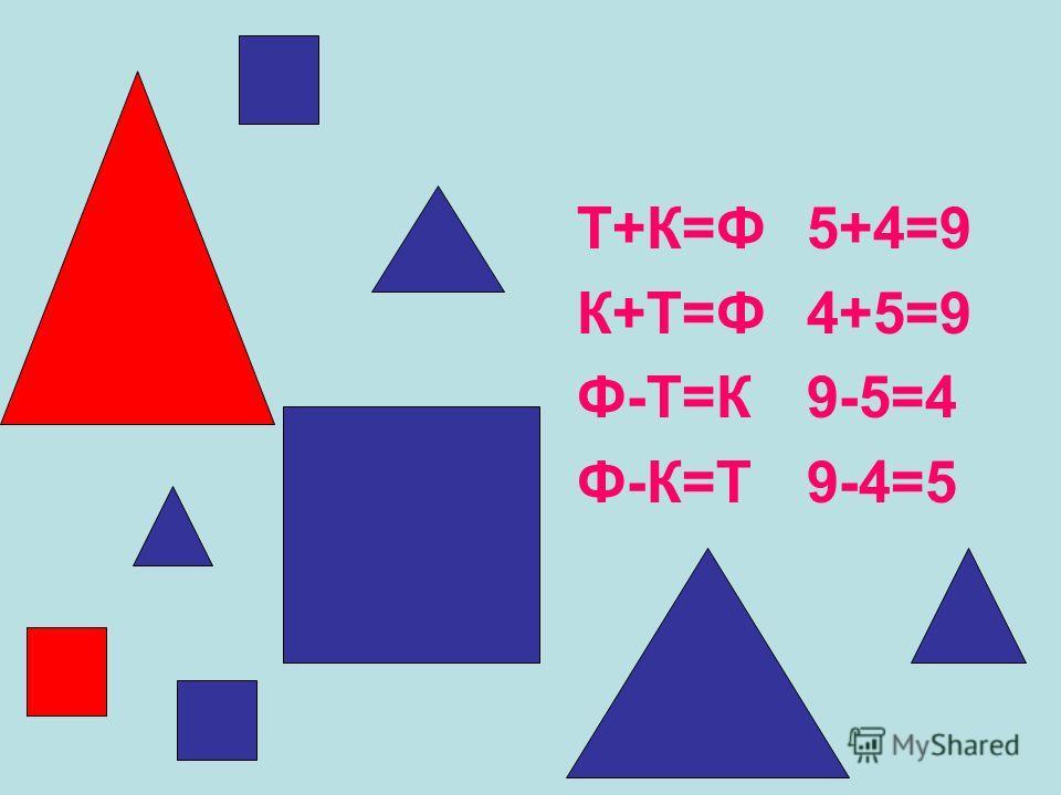 Т+К=Ф К+Т=Ф Ф-Т=К Ф-К=Т 5+4=9 4+5=9 9-5=4 9-4=5