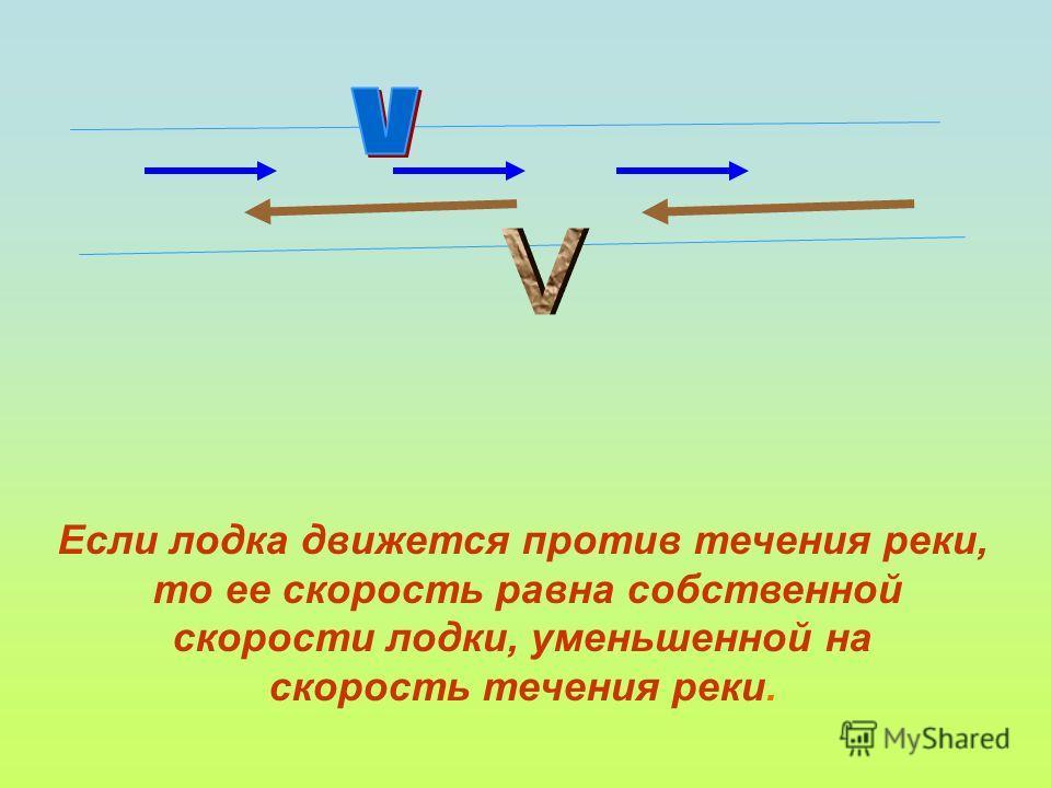 Если лодка движется против течения реки, то ее скорость равна собственной скорости лодки, уменьшенной на скорость течения реки.