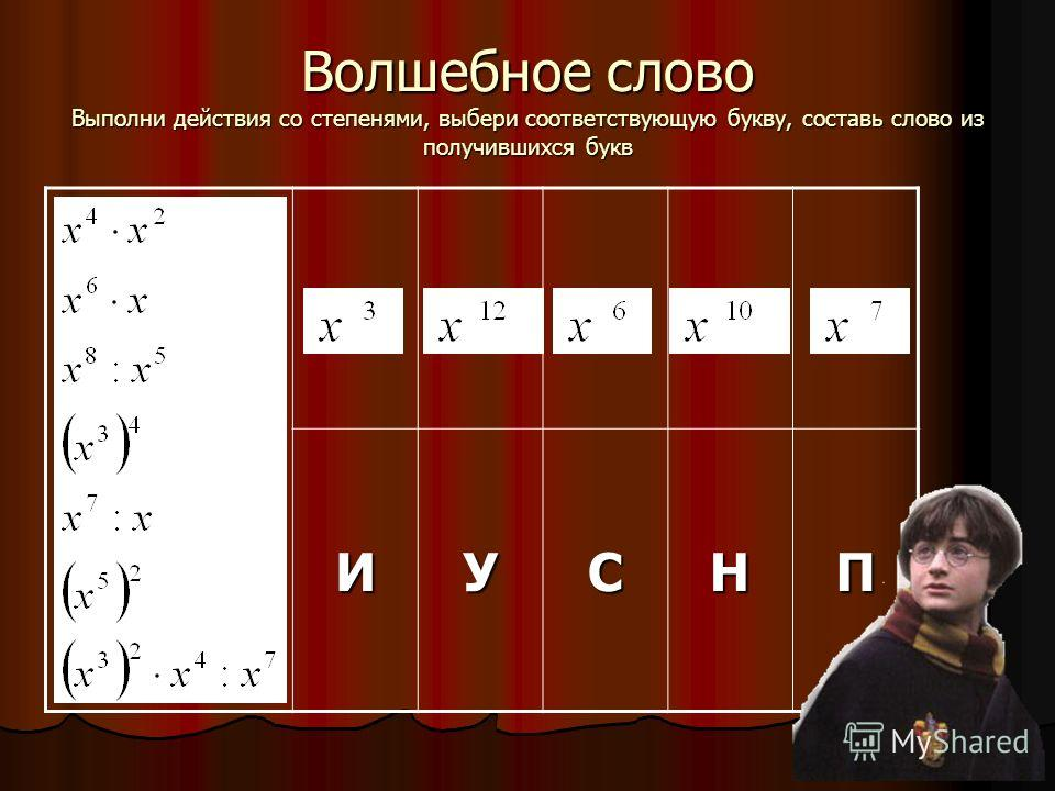 Волшебное слово Выполни действия со степенями, выбери соответствующую букву, составь слово из получившихся букв ИУСНП