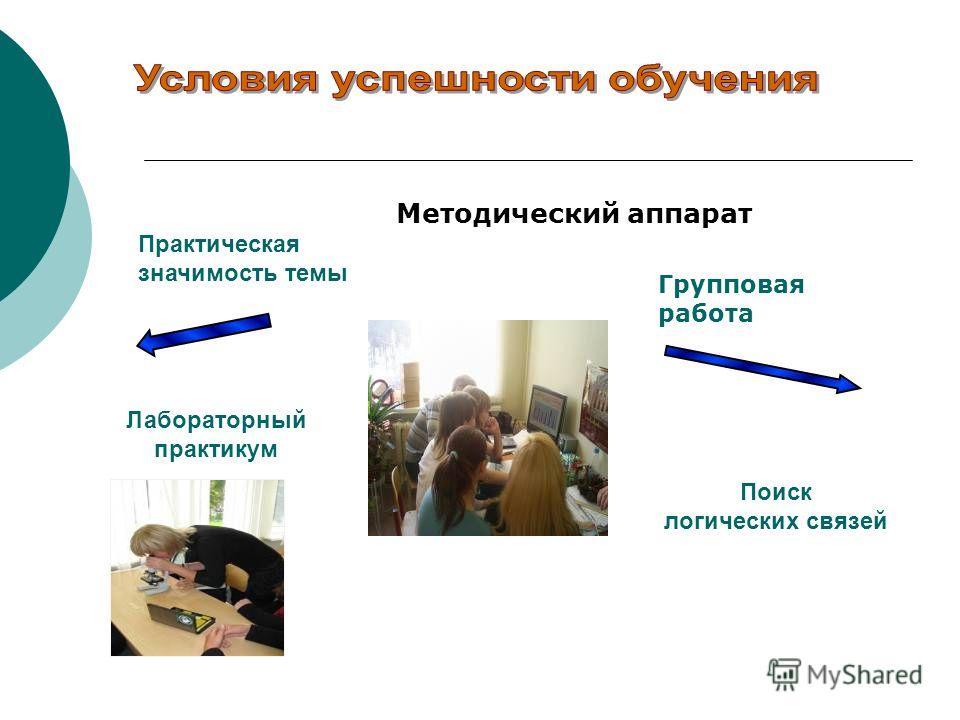 Практическая значимость темы Лабораторный практикум Поиск логических связей Групповая работа Методический аппарат