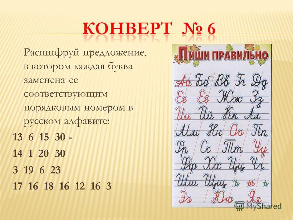 Расшифруй предложение, в котором каждая буква заменена ее соответствующим порядковым номером в русском алфавите: 13 6 15 30 - 14 1 20 30 3 19 6 23 17 16 18 16 12 16 3