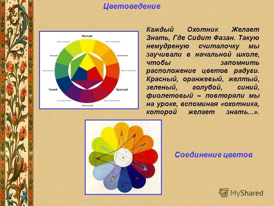 Цветоведение Каждый Охотник Желает Знать, Где Сидит Фазан. Такую немудреную считалочку мы заучивали в начальной школе, чтобы запомнить расположение цветов радуги. Красный, оранжевый, желтый, зеленый, голубой, синий, фиолетовый – повторяли мы на уроке