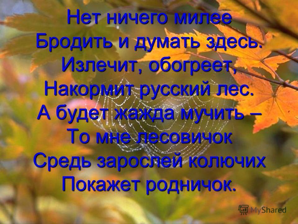 Нет ничего милее Бродить и думать здесь. Излечит, обогреет, Накормит русский лес. А будет жажда мучить – То мне лесовичок Средь зарослей колючих Покажет родничок.