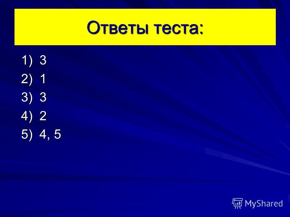 Ответы теста: 1) 3 1) 3 2) 1 2) 1 3) 3 3) 3 4) 2 4) 2 5) 4, 5 5) 4, 5