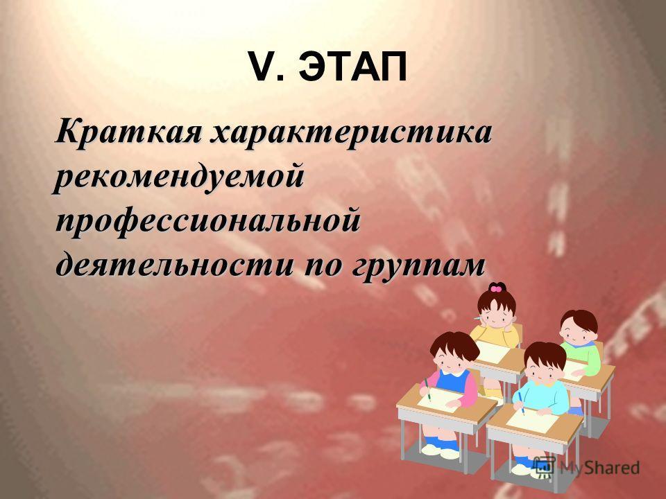 V. ЭТАП Краткая характеристика рекомендуемой профессиональной деятельности по группам