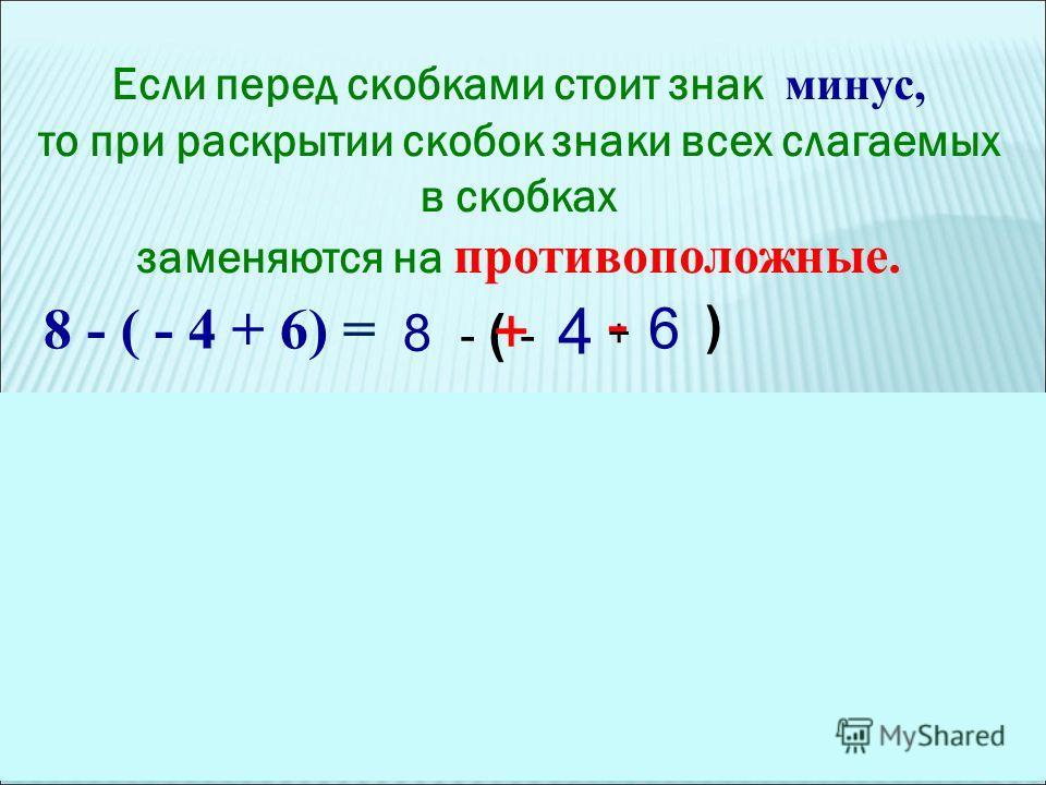 Если перед скобками стоит знак минус, то при раскрытии скобок знаки всех слагаемых в скобках заменяются на противоположные. 8 - ( - 4 + 6) = + - ( - - 6 ) 4 8 + Если перед скобками стоит знак плюс, то при раскрытии скобок знаки слагаемых в скобках со