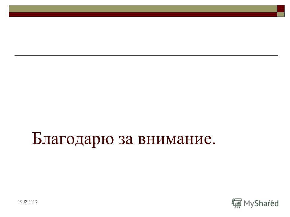 03.12.201313 Благодарю за внимание.