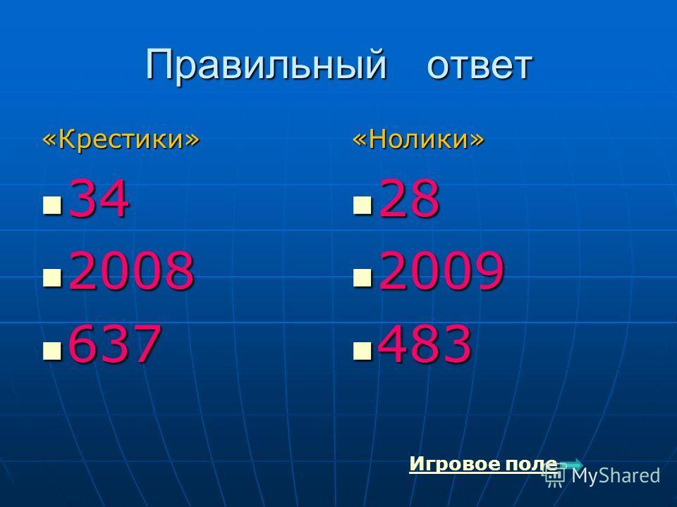 Правильный ответ «Крестики» 34 34 2008 2008 637 637«Нолики» 28 28 2009 2009 483 483 Игровое поле