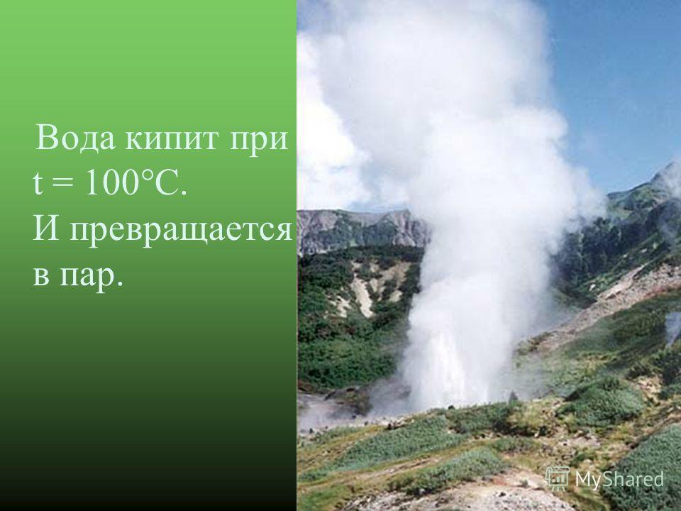 Вода кипит при t = 100°С. И превращается в пар.