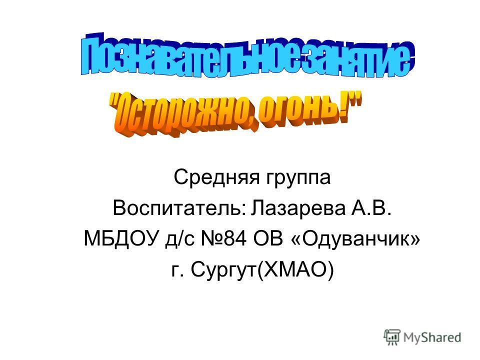 Средняя группа Воспитатель: Лазарева А.В. МБДОУ д/с 84 ОВ «Одуванчик» г. Сургут(ХМАО)