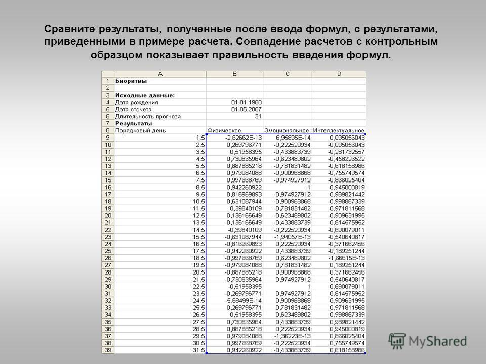 Сравните результаты, полученные после ввода формул, с результатами, приведенными в примере расчета. Совпадение расчетов с контрольным образцом показывает правильность введения формул.