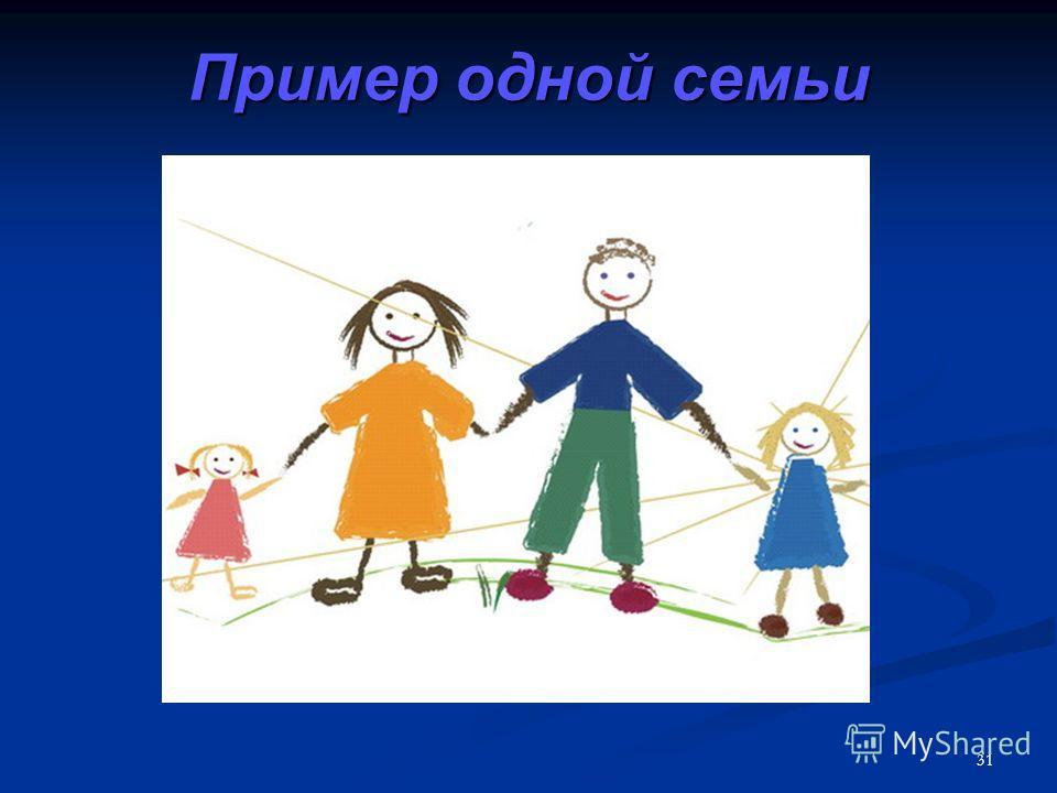 31 Пример одной семьи