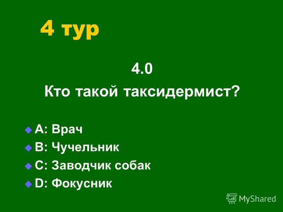 4 тур 4.0 Кто такой таксидермист? А: Врач В: Чучельник С: Заводчик собак D: Фокусник