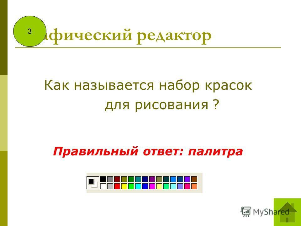 Графический редактор Как называется набор красок для рисования ? Правильный ответ: палитра 3