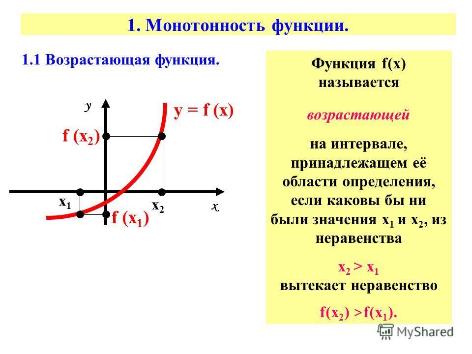 1. Монотонность функции. 1.1 Возрастающая функция. х х1х1 х2х2 у = f (х) у f (х 1 ) f (х 2 ) Функция f(х) называется возрастающей на интервале, принадлежащем её области определения, если каковы бы ни были значения х 1 и х 2, из неравенства х 2 > х 1