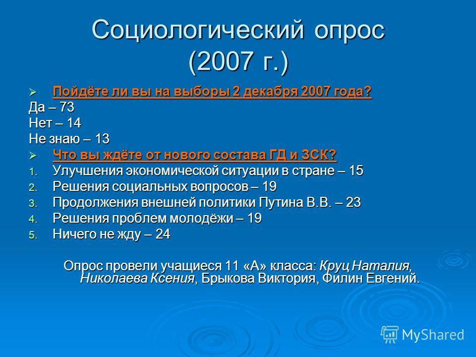 Социологический опрос (2007 г.) Пойдёте ли вы на выборы 2 декабря 2007 года? Пойдёте ли вы на выборы 2 декабря 2007 года? Да – 73 Нет – 14 Не знаю – 13 Что вы ждёте от нового состава ГД и ЗСК? Что вы ждёте от нового состава ГД и ЗСК? 1. Улучшения эко