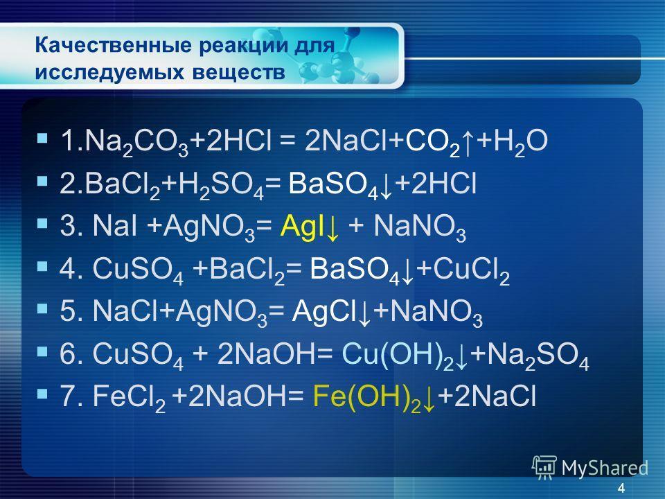 Качественные реакции для исследуемых веществ 1.Na 2 CO 3 +2HCl = 2NaCl+CO 2 +H 2 O 2.BaCl 2 +H 2 SO 4 = BaSO 4+2HCl 3. NaI +AgNO 3 = AgI + NaNO 3 4. CuSO 4 +BaCl 2 = BaSO 4+CuCl 2 5. NaCl+AgNO 3 = AgCl+NaNO 3 6. CuSO 4 + 2NaOH= Cu(OH) 2+Na 2 SO 4 7.